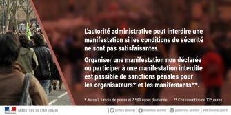 Interdiction de rassemblement ou manifestation du 17 au 20 mai 2019
